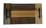 "Wooden Serving Tray with Handles 20x10.5"" - Pine with Striped Rabbit  Color Scheme"