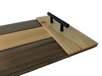 "Wooden Serving Tray in Striped Slate with Handles 20"" x 10.5"""