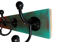 "Tropical Sunset - Resin Wall Mounted Hook Rack - 5 Black Hooks - 24"" x 3.5"""