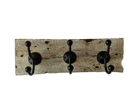 "White Painted Reclaimed Wood Wall Mounted Hook Rack - 3 Black Hooks -17"" x 6 """