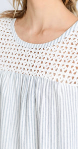 Eyelet Embroidered Top with Frayed Edges