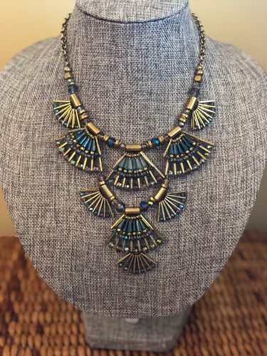 Blue Brass Tiered Necklace