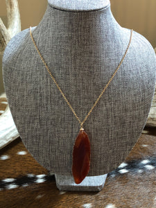 Orange Stone Long Necklace
