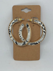 Snakeskin Flat Hoop Earrings