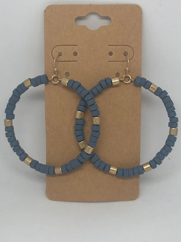 Blue and Gold Wood Hoop Earrings