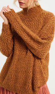 Rust Fuzzy Turtleneck Sweater