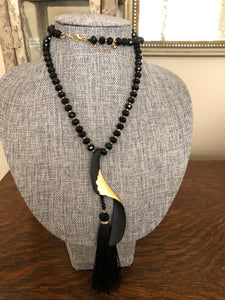 Long Black and Gold Dipped Necklace