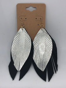 Metallic Silver and Black Feather Earrings