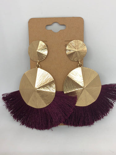 Plum and Gold Fringe Earrings