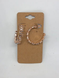 Rose Gold Crystal Open Hoop Earrings