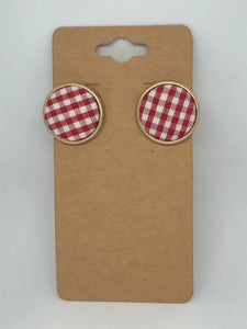 Red and White Gingham Post Earrings