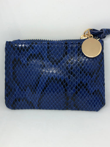 Blue Snakeskin Coin Purse
