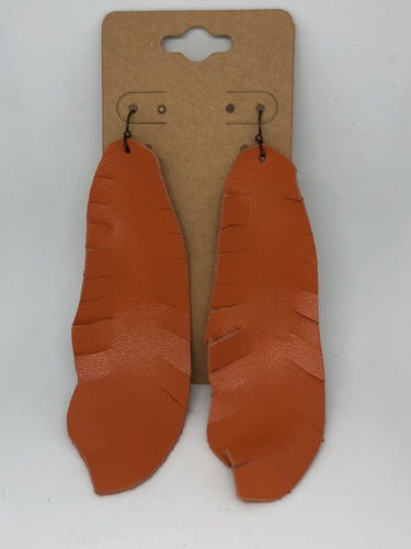 Orange Feather Leather Earrings