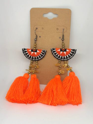 Orange and Black Half-Moon Tassels