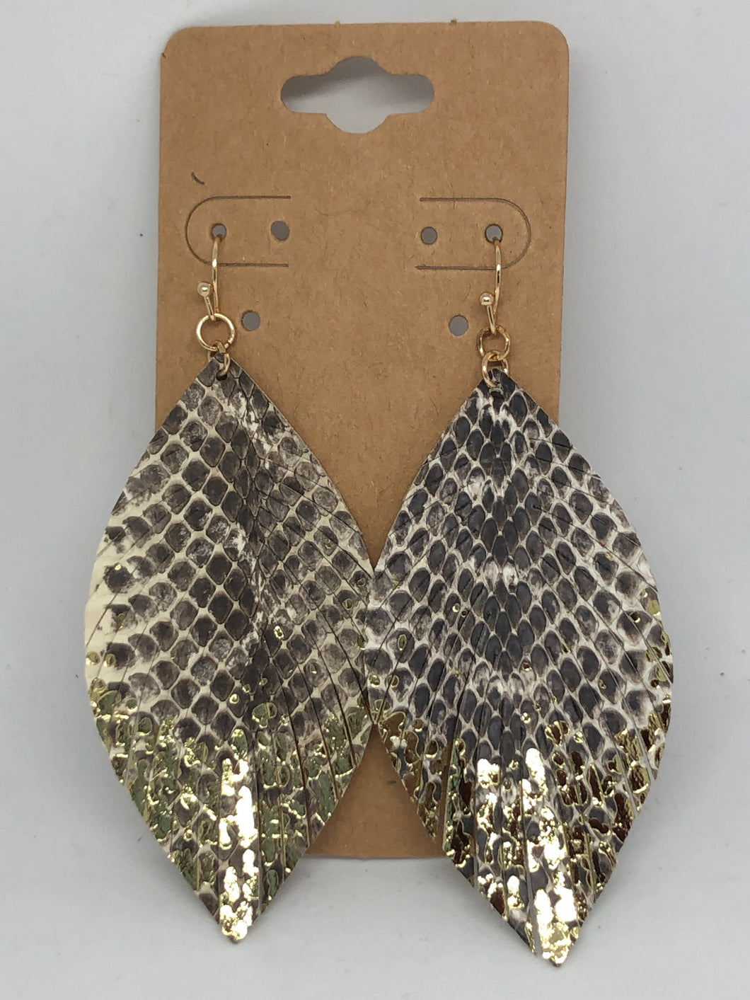 Leather Snakeskin Feather Earrings