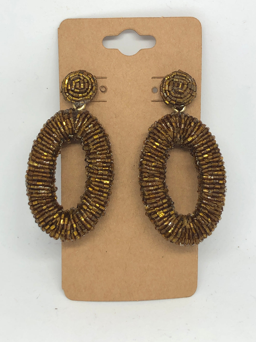 Bronze Oval Beaded Earrings