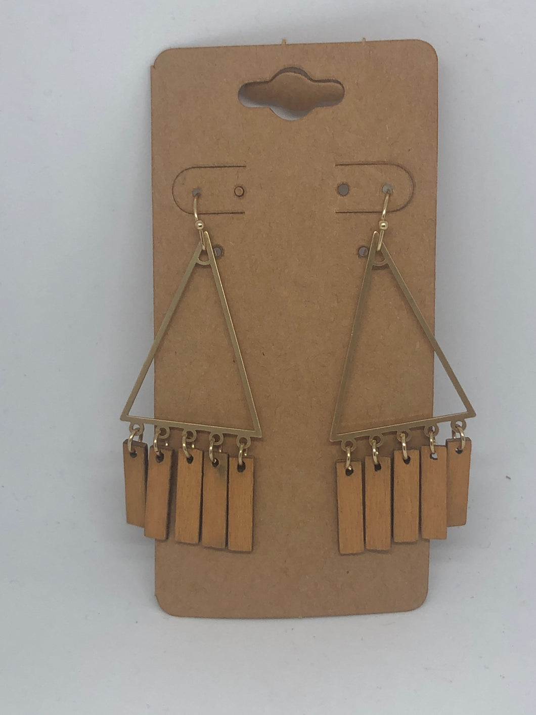 Triangle Wood Tassel Hoop Earrings