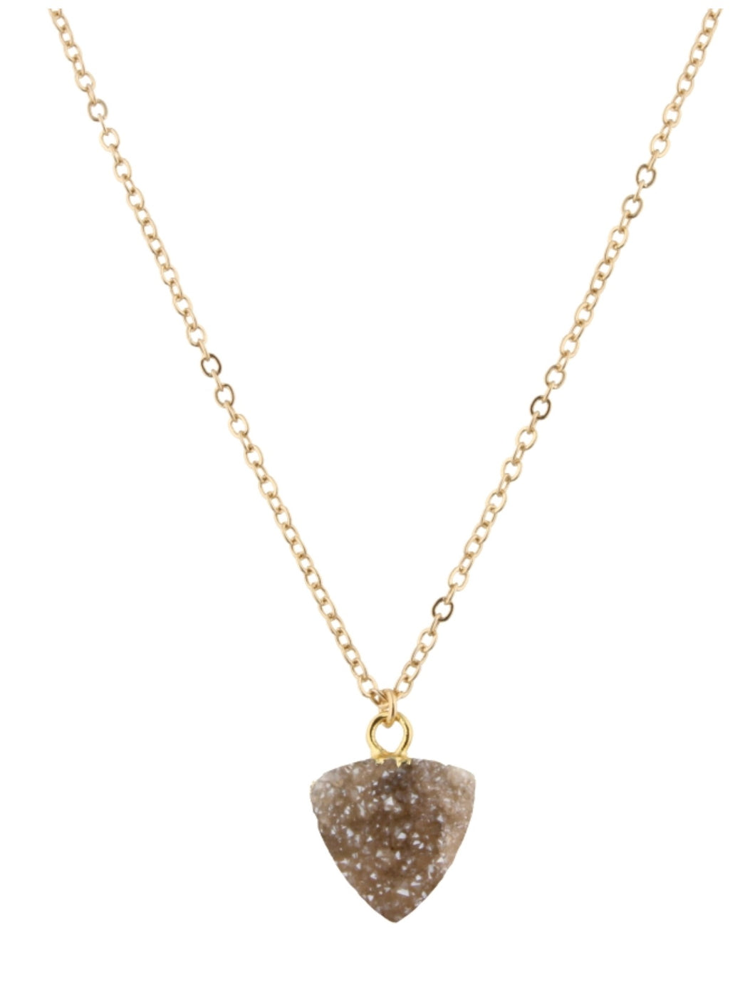 "16"" Champagne Druzy Triangle Necklace"