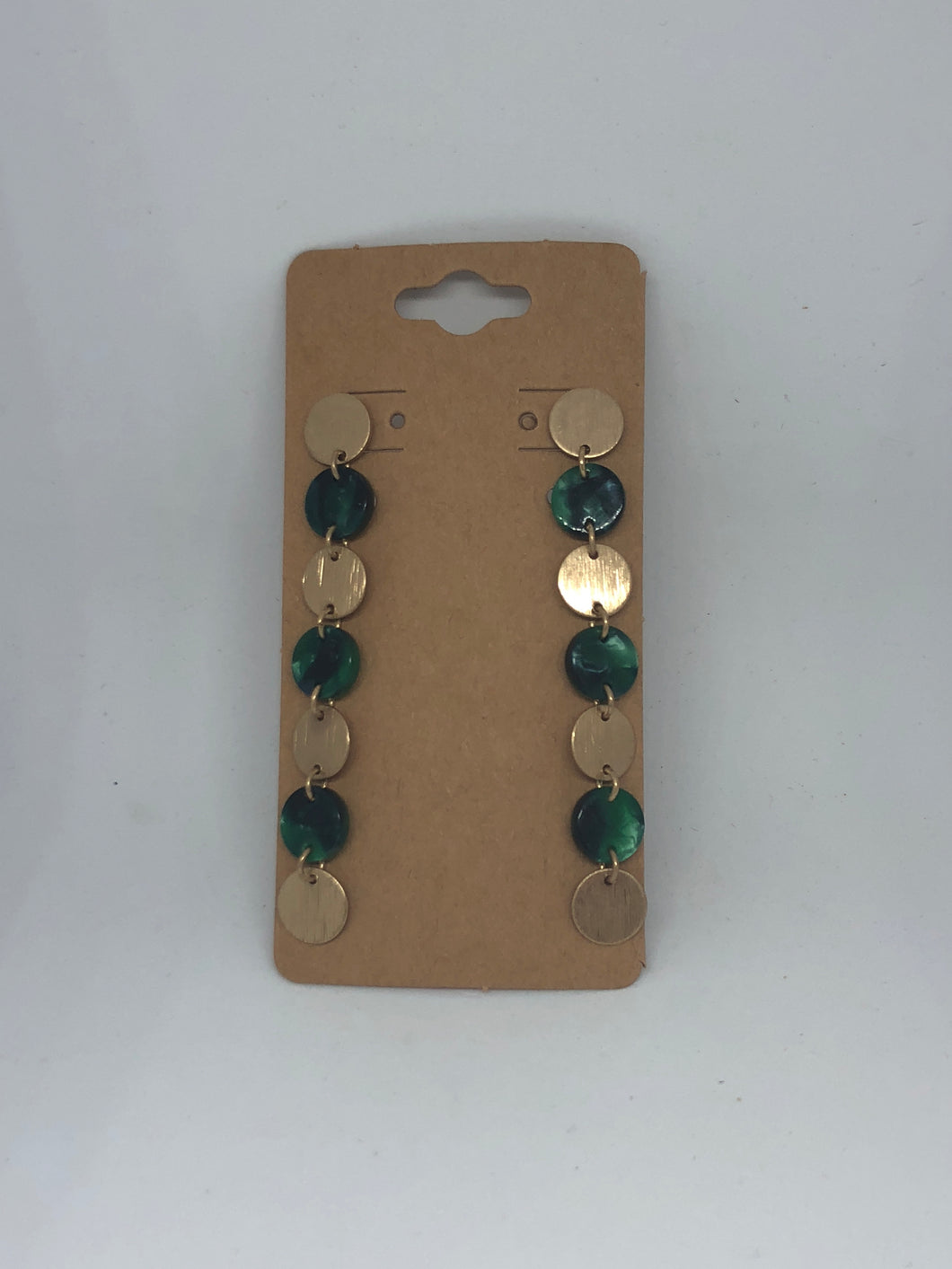 Green Lucite and Gold Disc Dangle Earrings