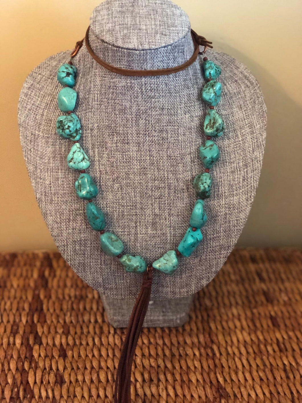 Turquoise and Leather Tassel Necklace