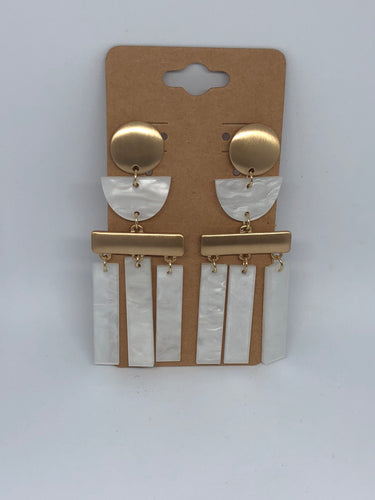 Gold and Clear Geometric Dangle Earrings