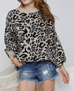 Black Leopard Knit Top