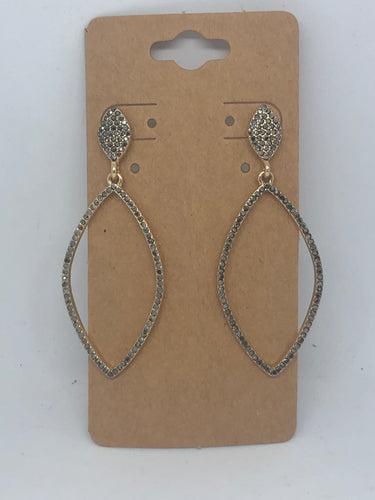 Grey and Gold Dangle Earrings