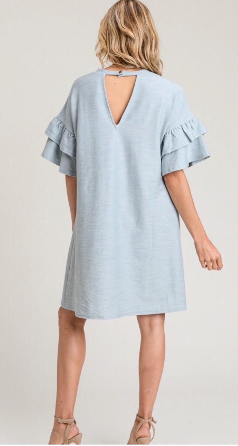 Ash Blue Ruffle Sleeve Dress