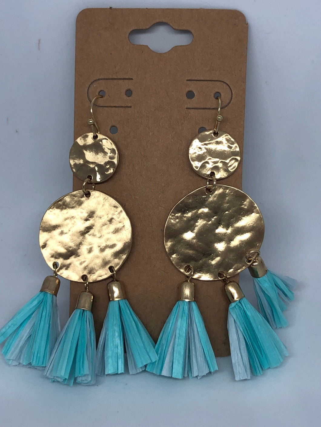 Gold and Turquoise Raffia Earrings