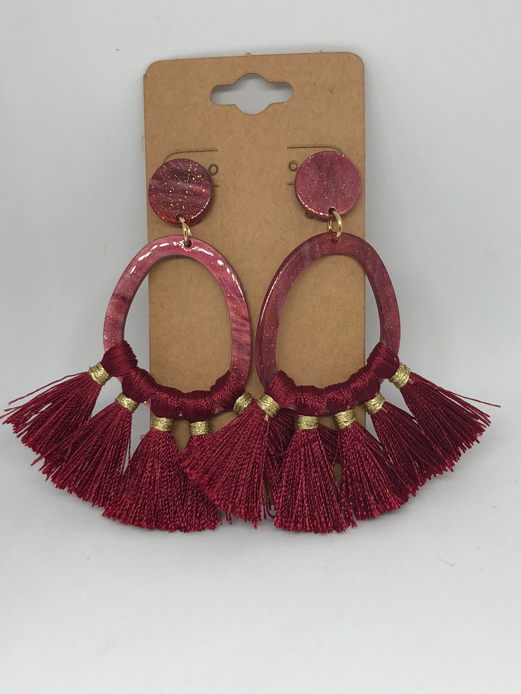Red Shimmer Lucite Tassel Earrings