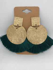 Green Fringe and Hammered Gold Earrings