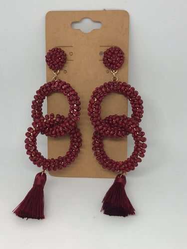 Maroon Beaded Earrings