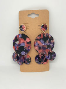 Purple, Pink and Black Lucite Circle Earrings
