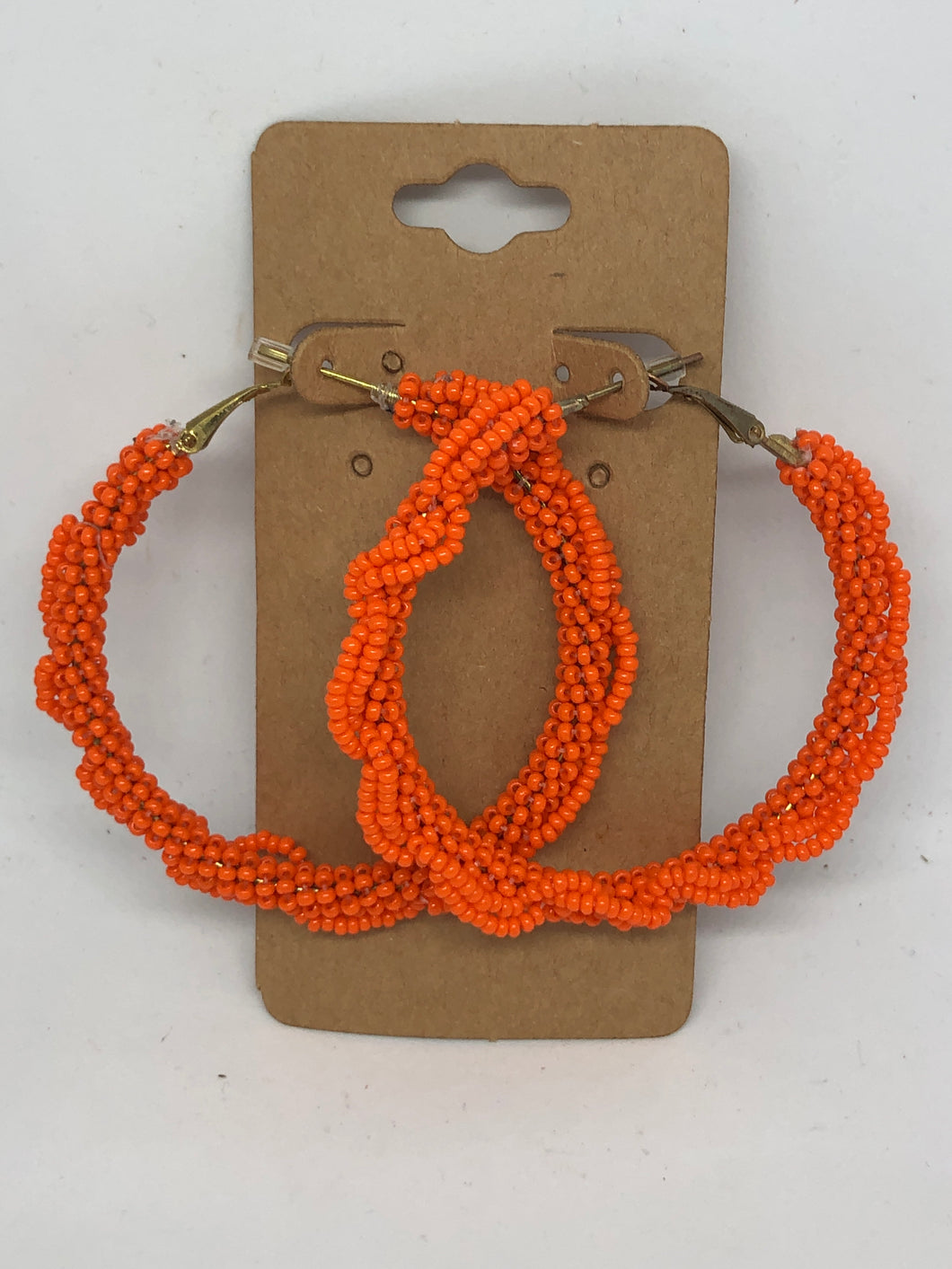 Orange Beaded Hoop Earrings