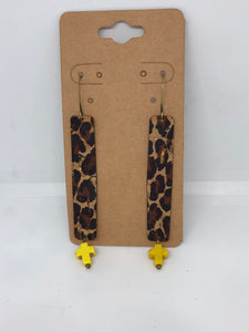 Leopard Dangles with Yellow Cross