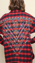 Red Long Sleeve Plaid Button Up Top with Aztec Embroidery