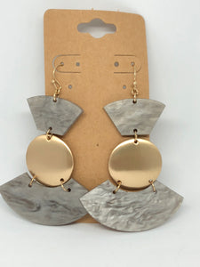 Grey Lucite and Gold Dangle Earrings