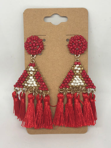Red Beaded Tassels
