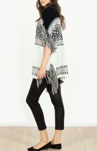Black Short Sleeve Fringe Detail Pancho