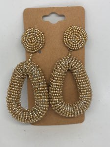 Gold Beaded Oval Earrings
