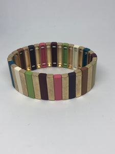 Purple, Green, Pink and Gold Tile Bracelet