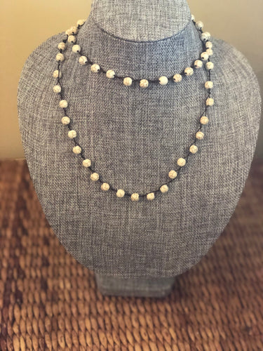 Marble Beaded Long Necklace