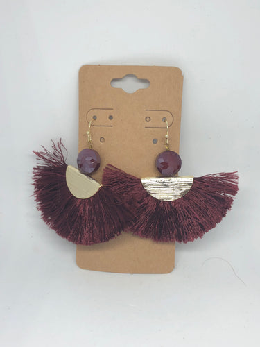 Maroon Fringe Fan Earrings