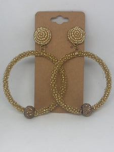 Gold Beaded Hoop Statement Earrings