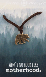 "16"" Adjustable Mama Bear Leather Necklace"