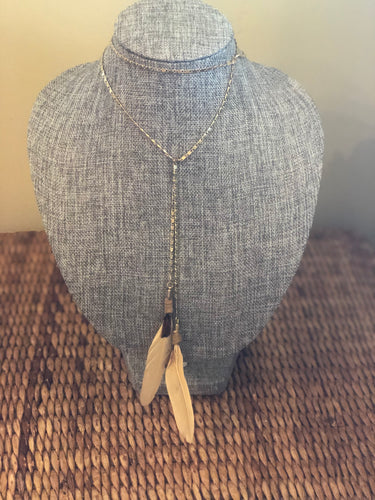 Cream Feather Dangle Necklace