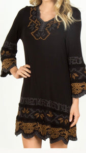 3/4 Length Bell Sleeve Embroidered Knit Dress