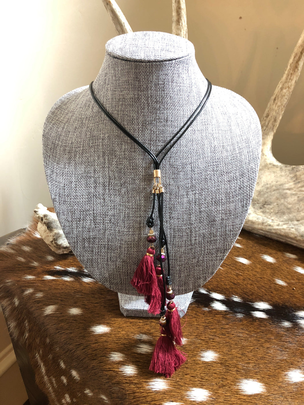 Black and Maroon Long Tassel Necklace