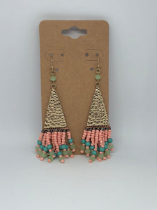 Peach and Blue Beaded Earrings