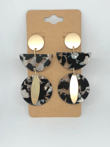 Black and Gold Lucite Dangle Earrings